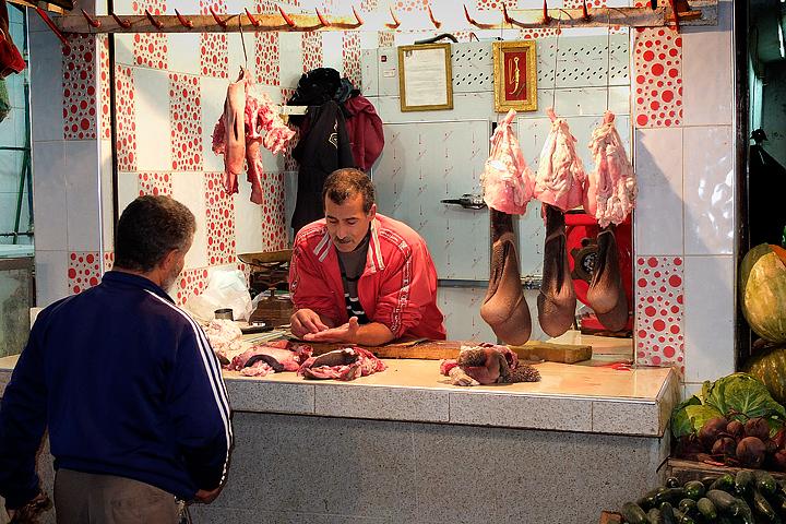 A typical butcher's shop