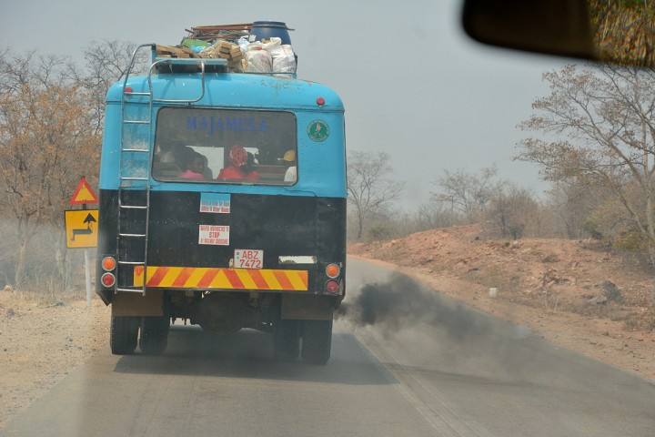A smokey, stinky bus