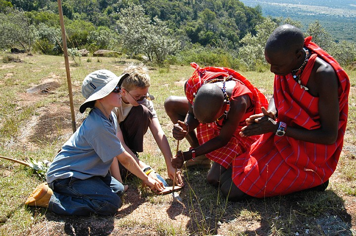 Learn fire lighting by friction from the Maasai
