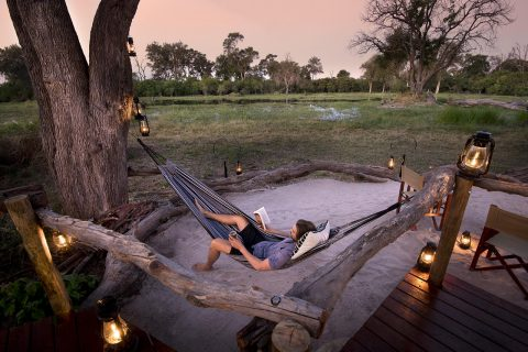 relaxing at Khwai tented camp