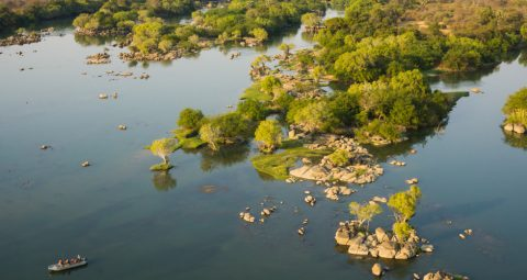 aerial view o fth eriver at kaingue safari lodge