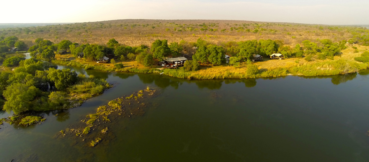 aerial view of Zambezi Sands River Lodge from river side