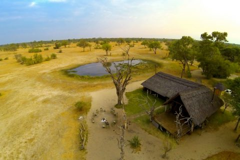 aerial view of Bomani tented Lodge, Hwange NP, Zimbabwe
