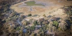 aerial view of Kwando Splash lodge, okavango Delta