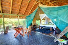 Interior of superior guest tent, Haina Kalahari Lodge