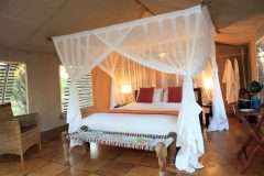 Interior of guest tent at Haina Kalahari Lodge