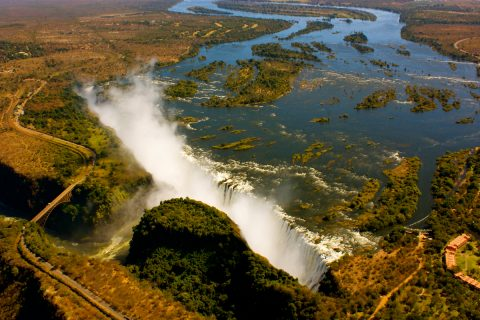 aerial view of Victoria Falls, Zimbabwe