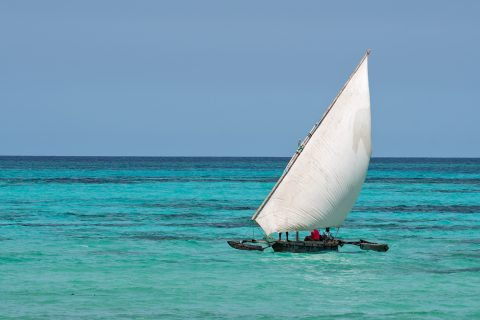 Local sail boat, Pongwe Beach