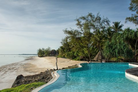 Pongwe Beach Hotel, Looking over the swimming pool to the beach