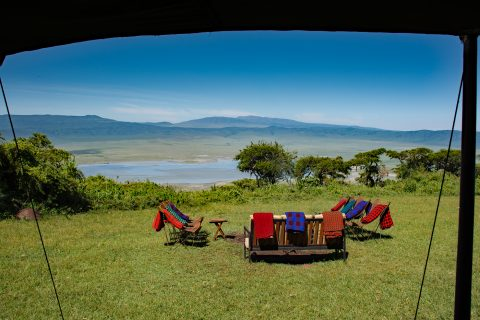 view over the Ngorongoro crater from Kirurumu camp