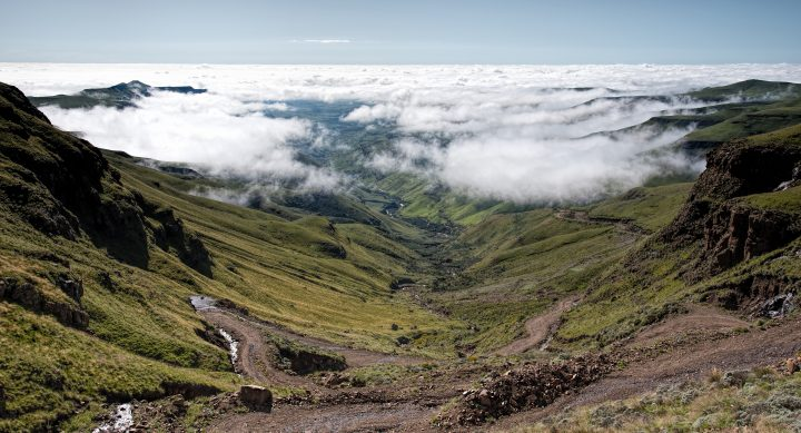 Looking down the Sani Pass from above the clouds