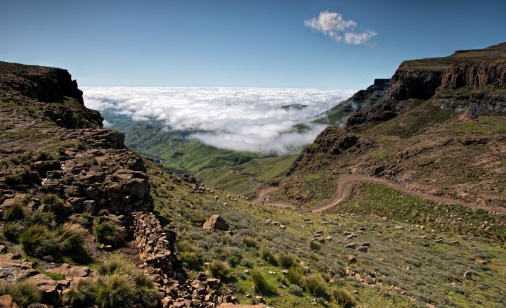 Looking back down the Sani Pass